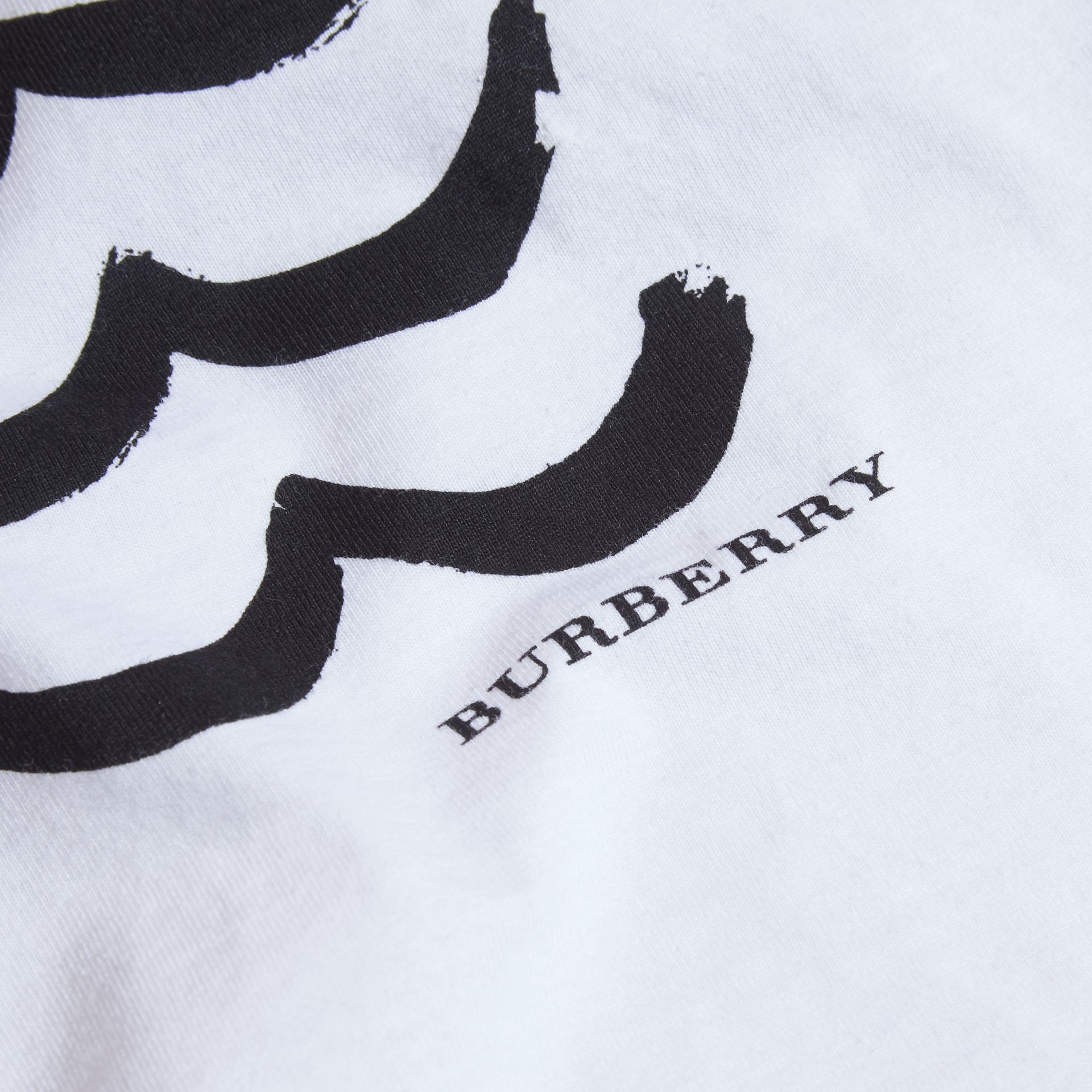 Waves and Eye Graphic Print Cotton T-shirt in White | Burberry - gallery image 2