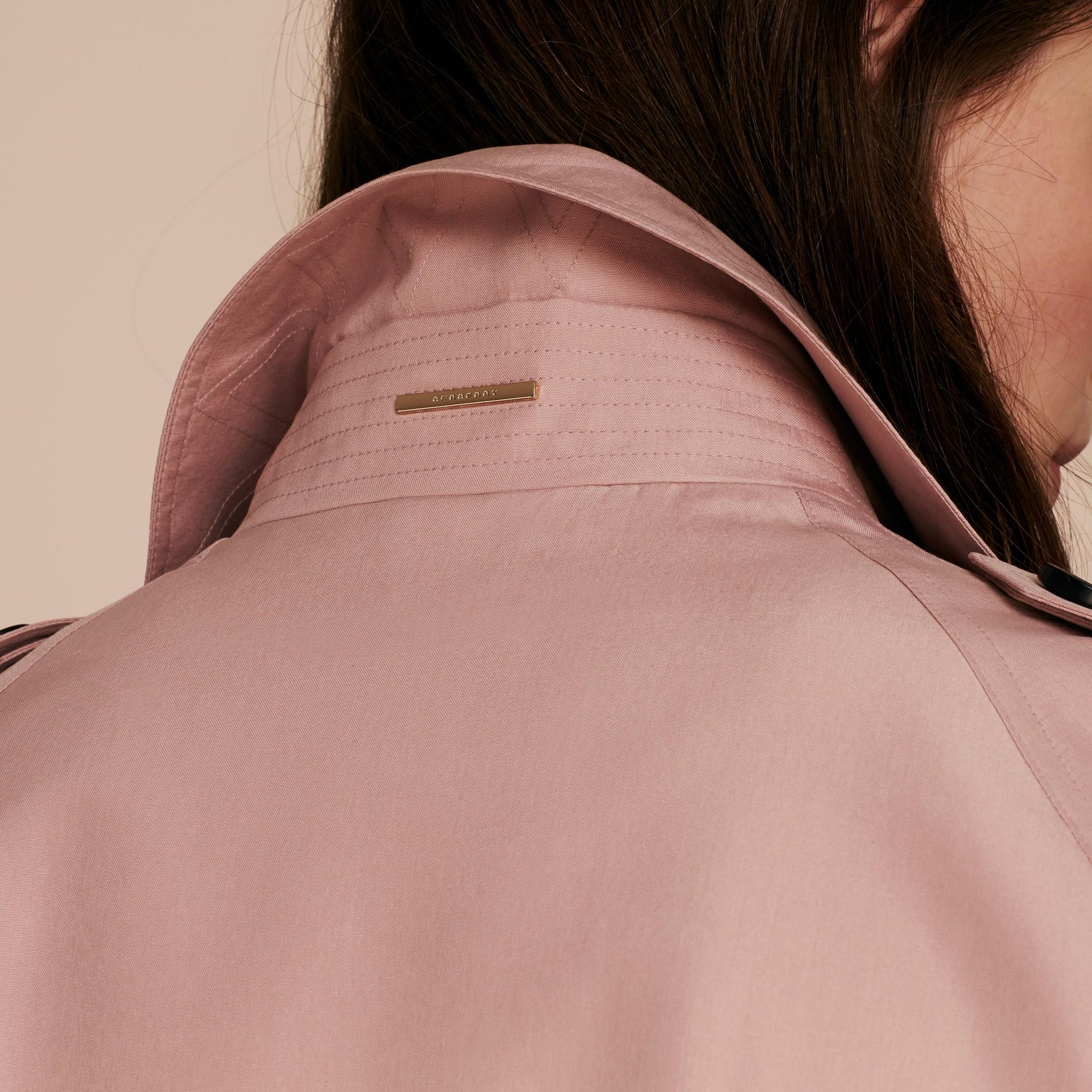 Chalk pink Lightweight Slub Silk Wrap Trench Coat - gallery image 6