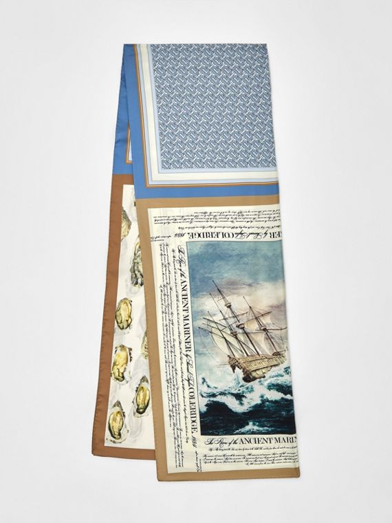 Oyster, Monogram and Mariner Print Silk Scarf in White