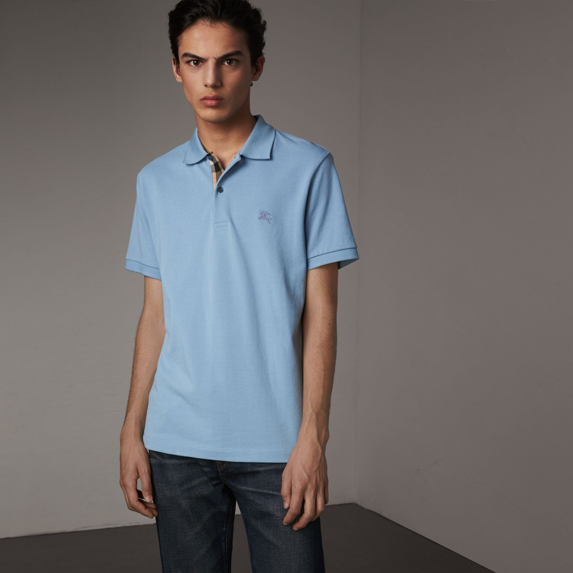 Check Placket Cotton Piqué Polo Shirt in Pale Blue - Men | Burberry - gallery image 0