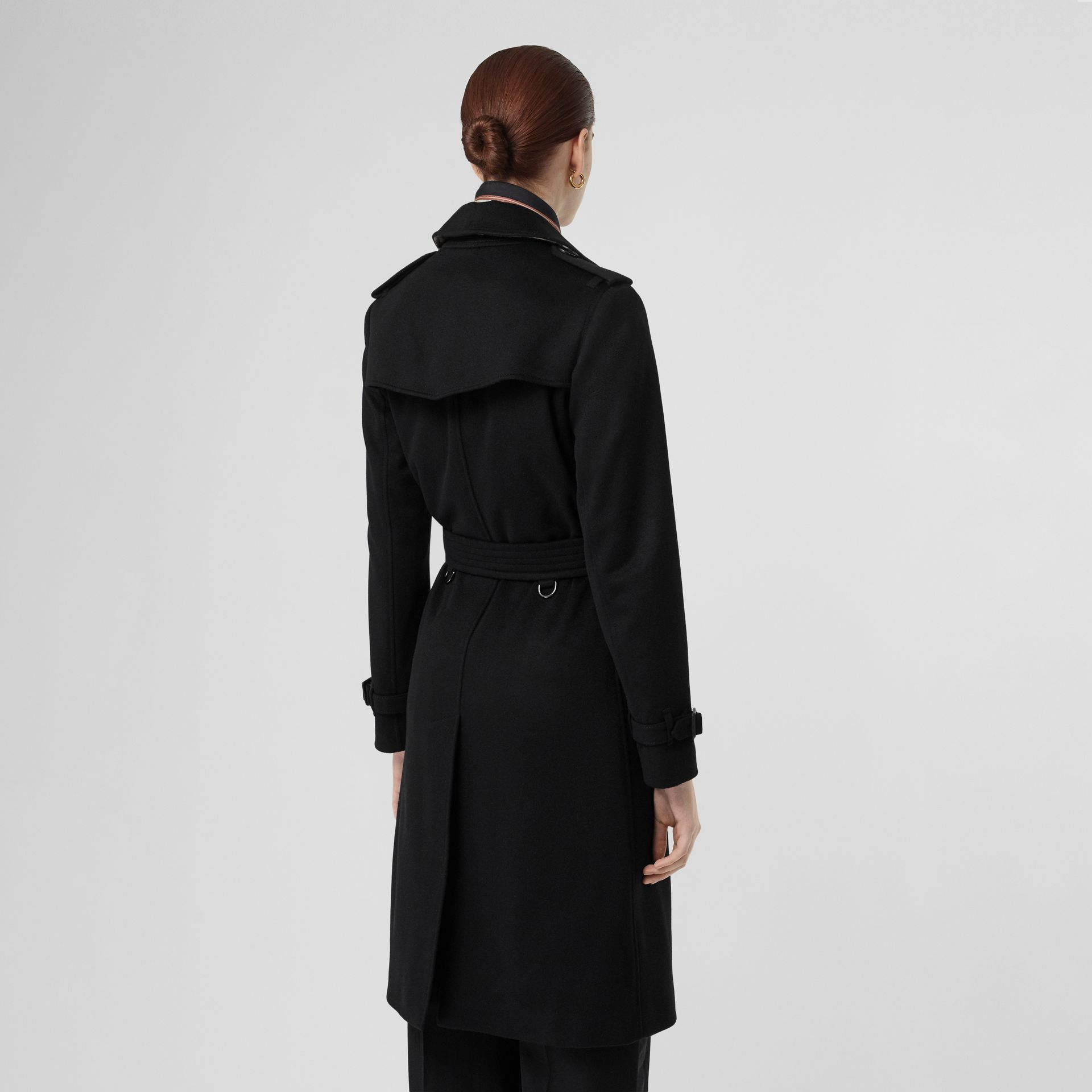 Cashmere Trench Coat in Black - Women | Burberry - gallery image 2