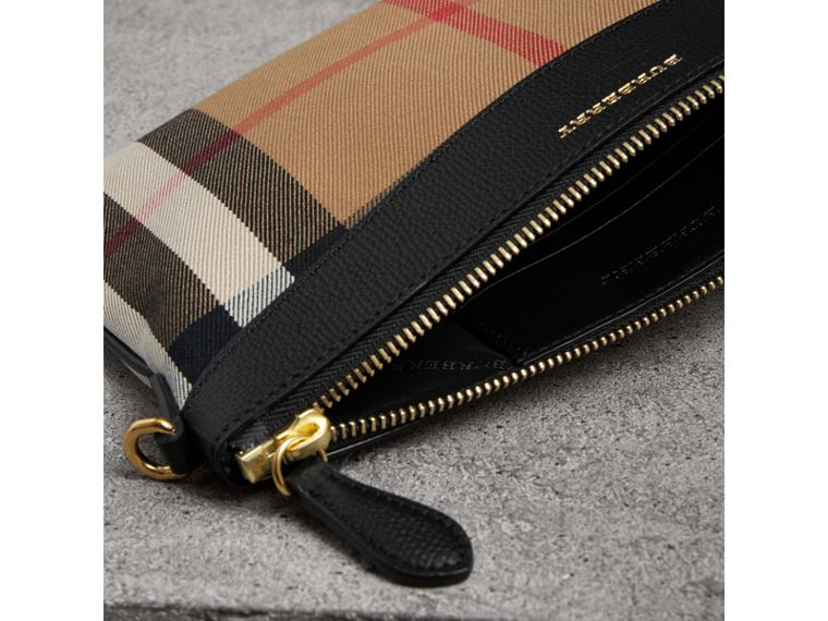 House Check and Leather Clutch Bag in Black - Women | Burberry - cell image 4