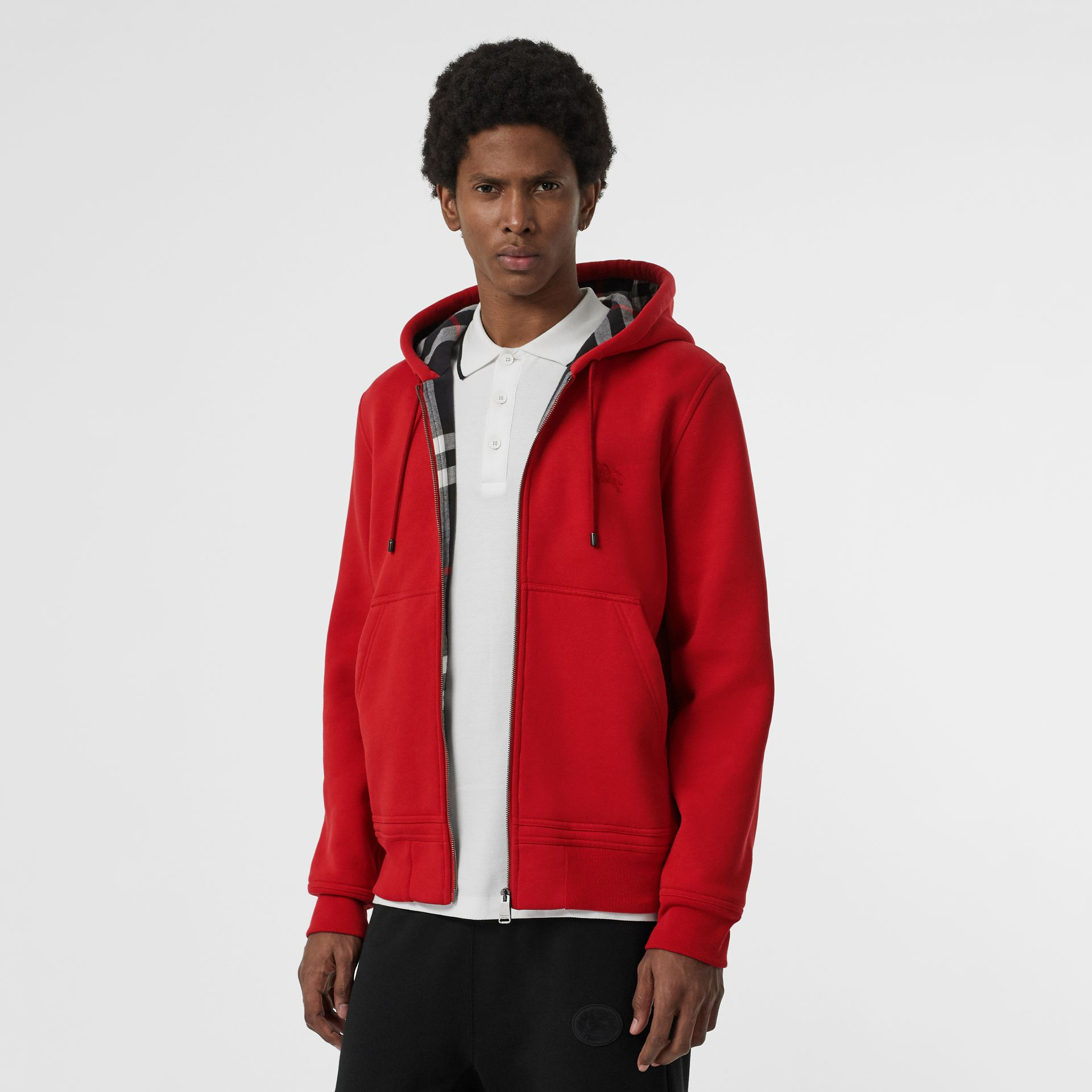 Check Detail Jersey Hooded Top in Military Red - Men | Burberry Canada - gallery image 0