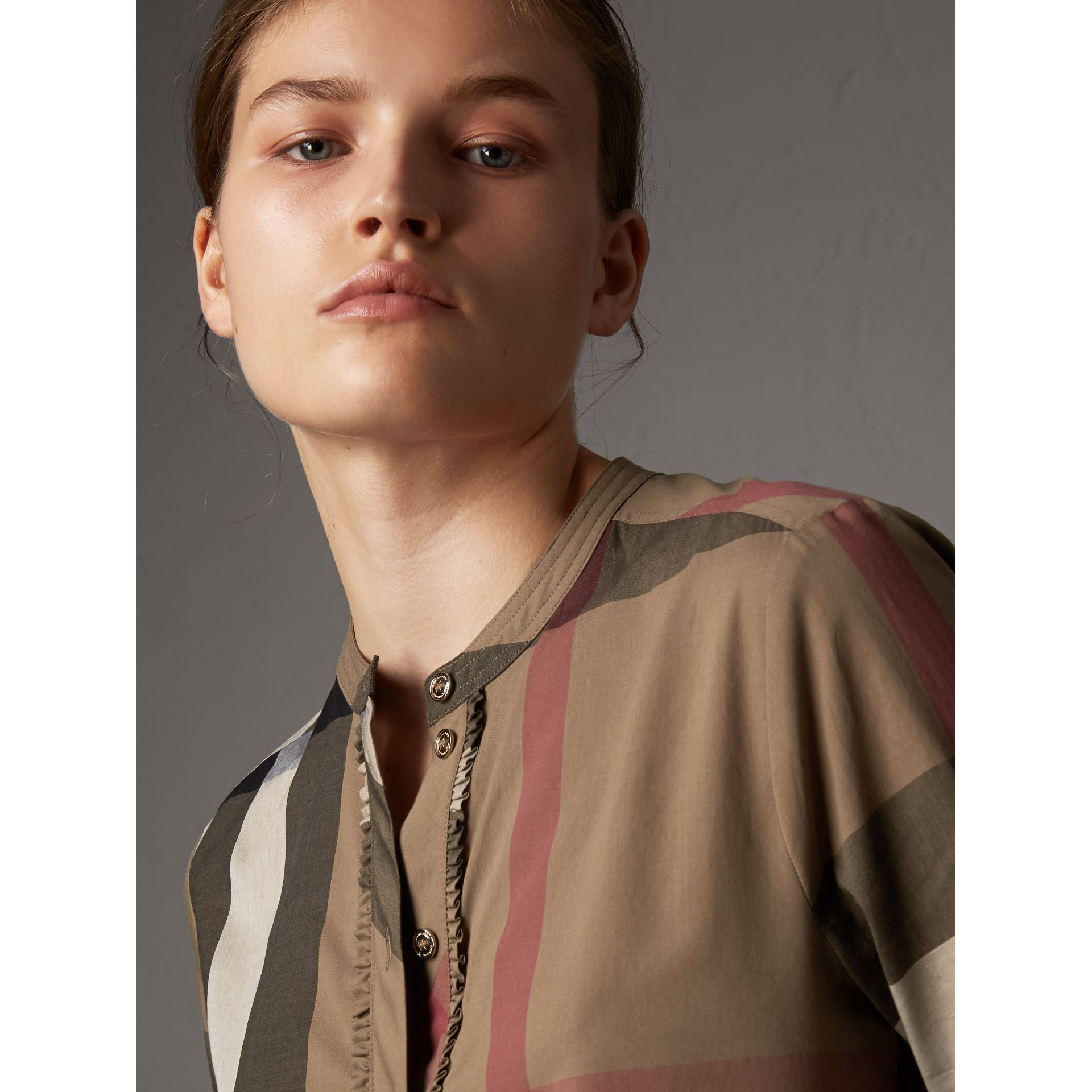 Check Grandad Collar Shirt in Taupe Brown - Women | Burberry Canada - gallery image 1