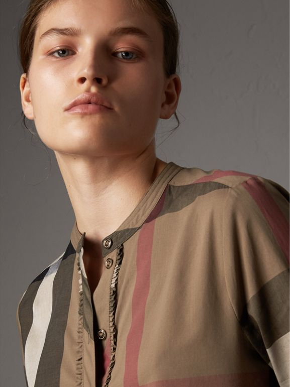 Check Grandad Collar Shirt in Taupe Brown - Women | Burberry - cell image 1