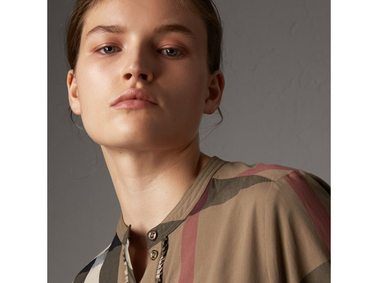 Check Grandad Collar Shirt in Taupe Brown - Women | Burberry Canada - cell image 1