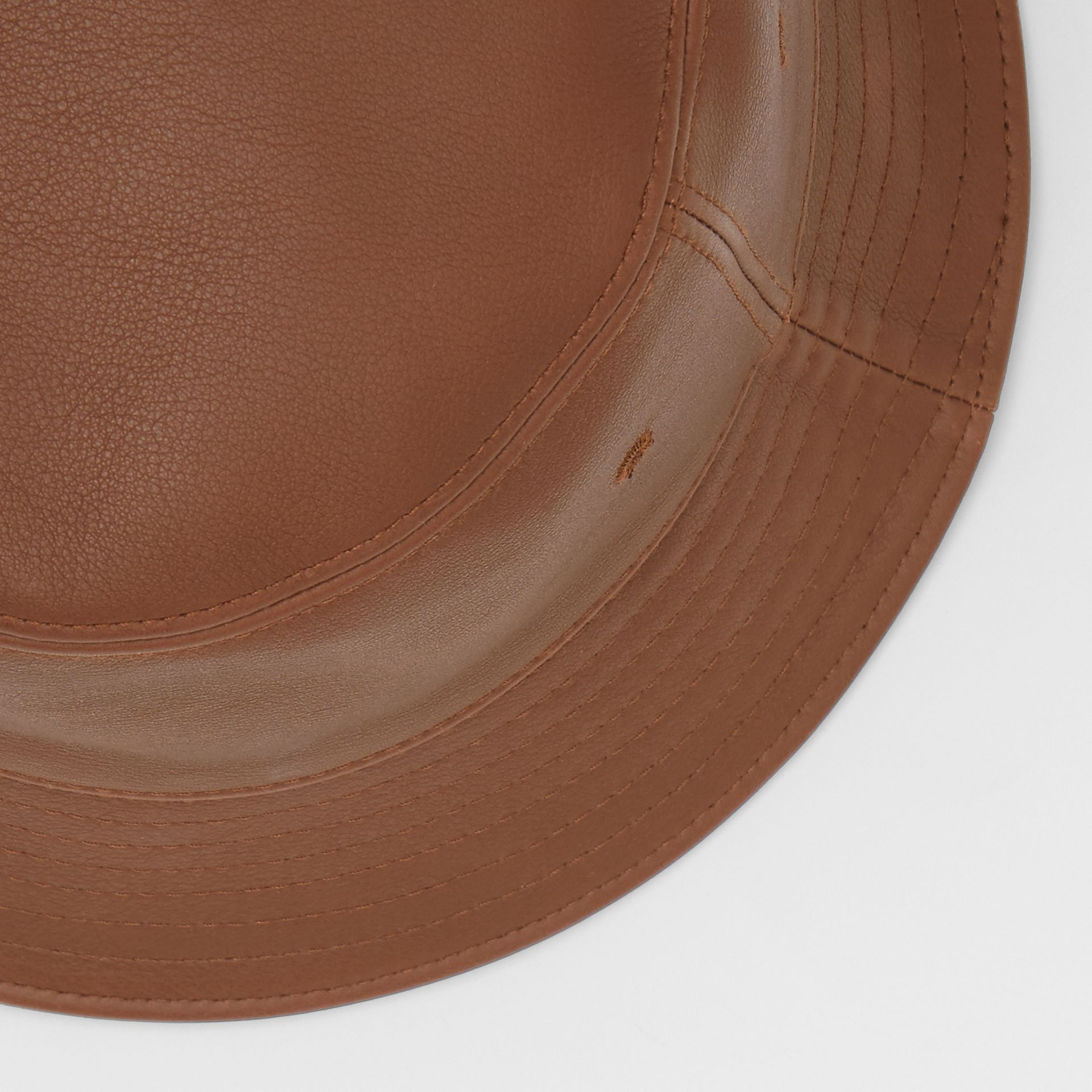 Logo Detail Leather Bucket Hat in Tan | Burberry United States - gallery image 1