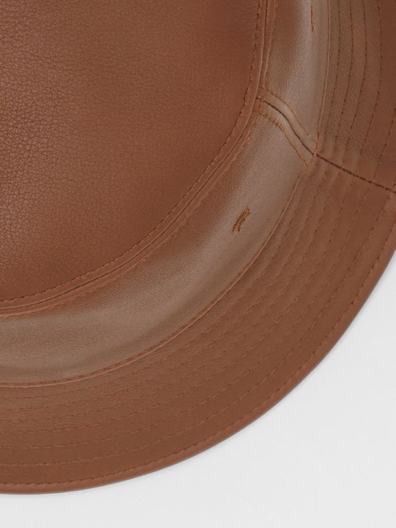 Logo Detail Leather Bucket Hat in Tan | Burberry United States - cell image 1