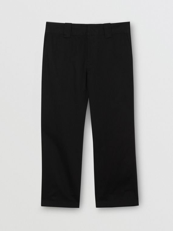 Stripe Detail Cotton Twill Trousers in Black