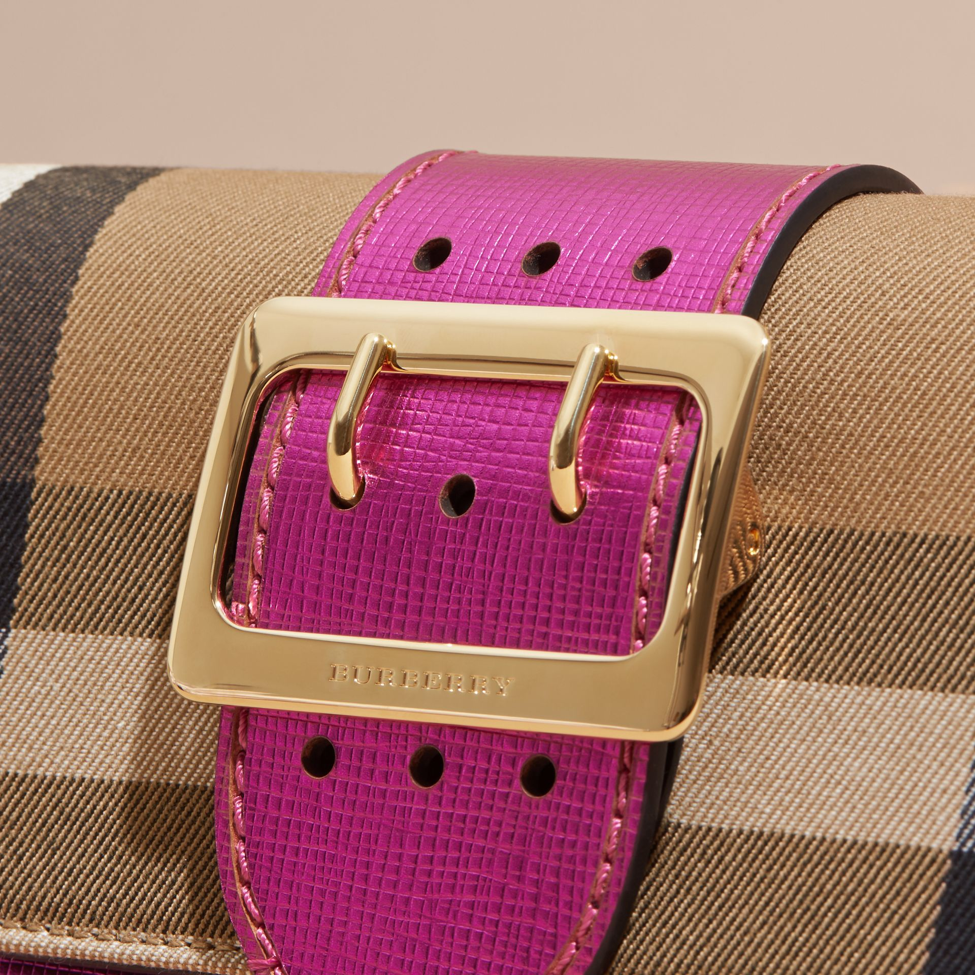 The Small Buckle Bag in House Check and Leather in Bright Pink - gallery image 7