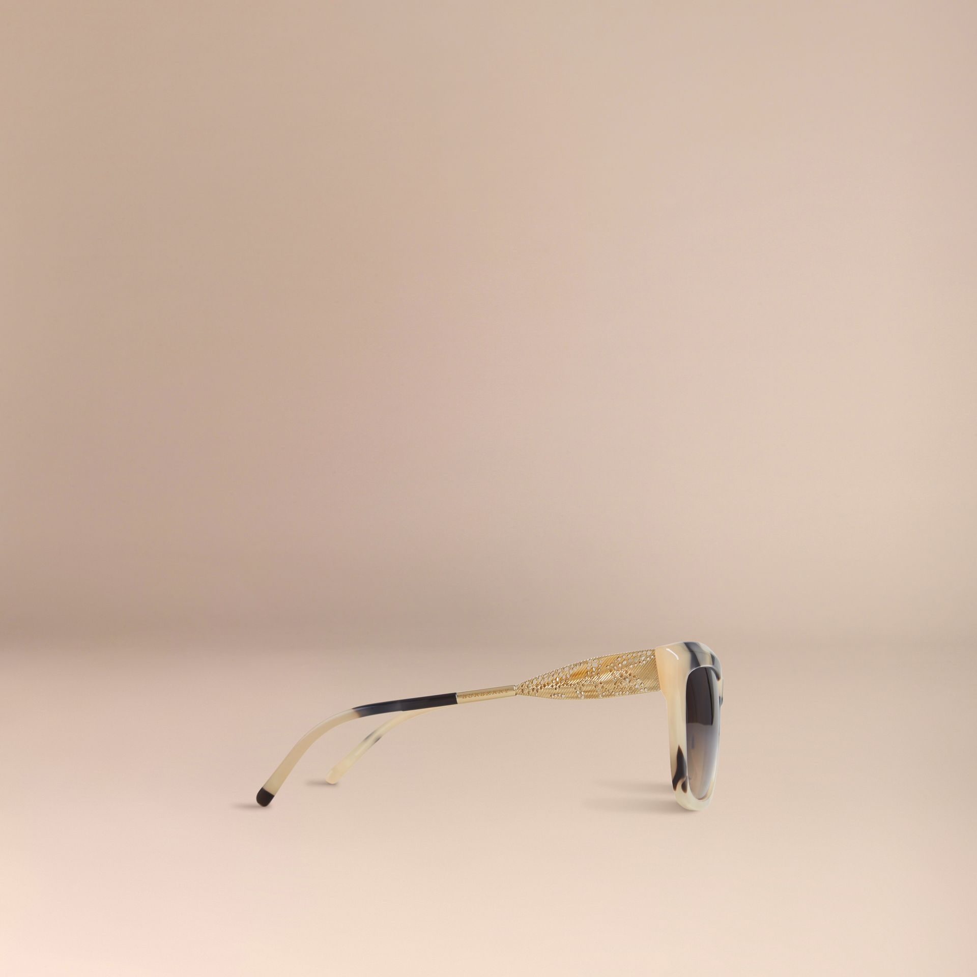 Mid tone horn Gabardine Lace Collection Square Frame Sunglasses Mid Tone Horn - gallery image 5