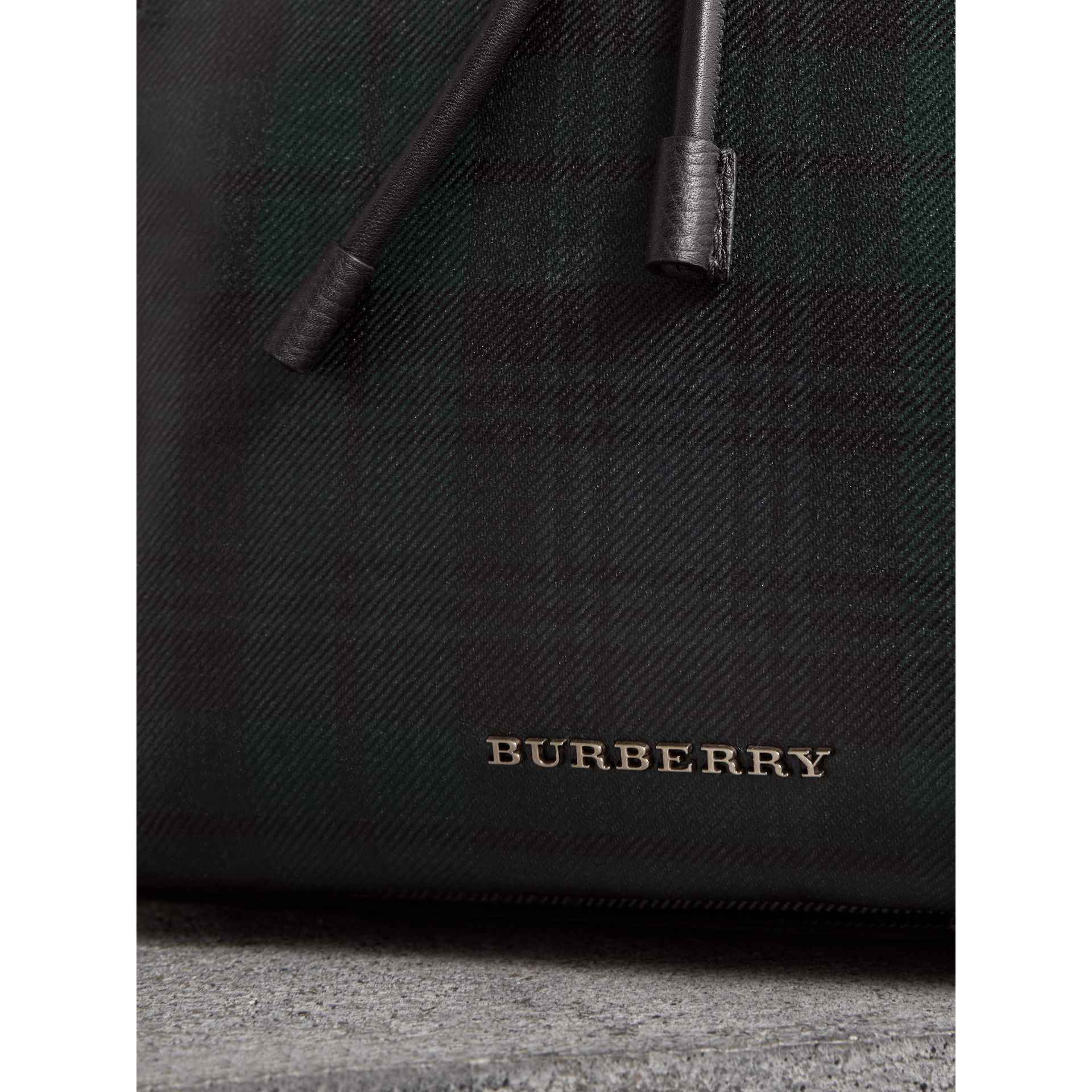 The Large Rucksack in Laminated Tartan in Black/white - Men | Burberry - gallery image 1