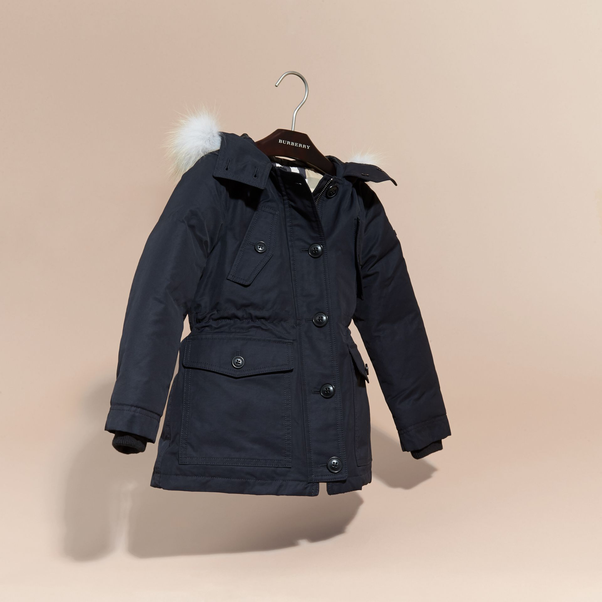 Navy Hooded Coat with Detachable Fox Fur Trim - gallery image 3