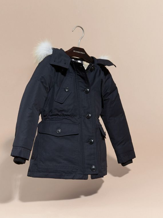 Navy Hooded Coat with Detachable Fox Fur Trim - cell image 2