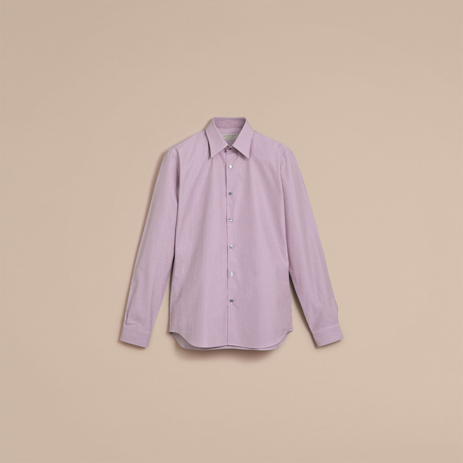 Slim Fit Striped Cross Dobby Cotton Shirt in Heather - Men | Burberry - gallery image 4