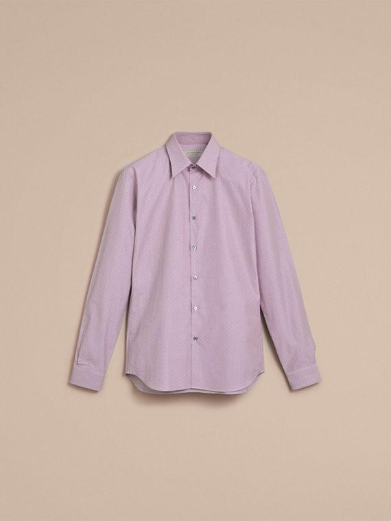 Slim Fit Striped Cross Dobby Cotton Shirt in Heather - Men | Burberry Singapore - cell image 3
