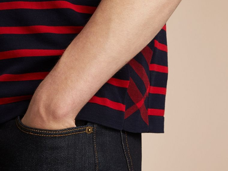 Breton Stripe Cotton Polo Shirt in Navy - Men | Burberry - cell image 4