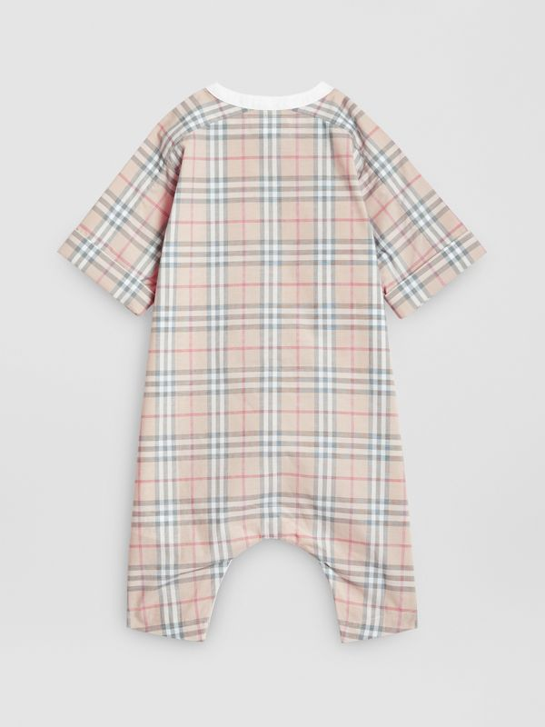 Bib Detail Check Cotton Jumpsuit in Pale Stone - Children | Burberry United States - cell image 3
