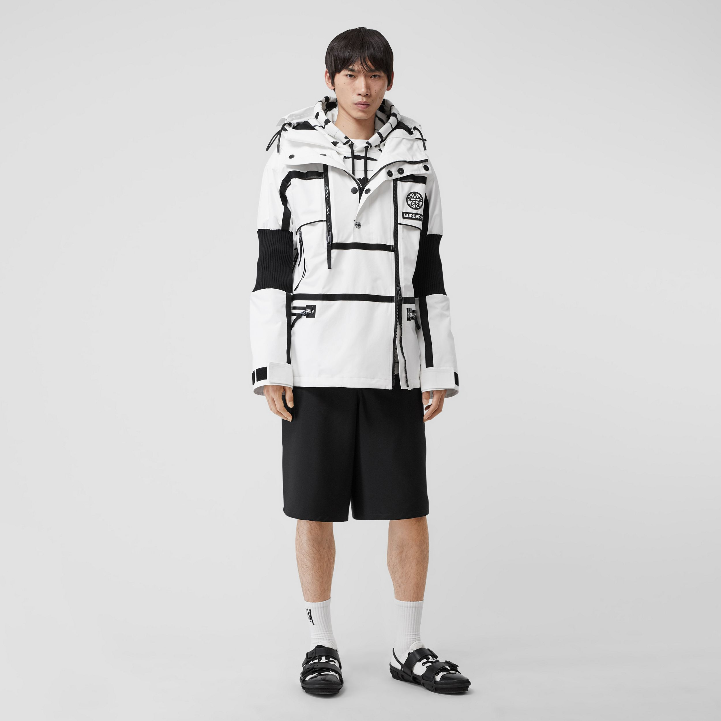 Globe Graphic Nylon Reconstructed Track Jacket in Optic White - Men | Burberry - 1