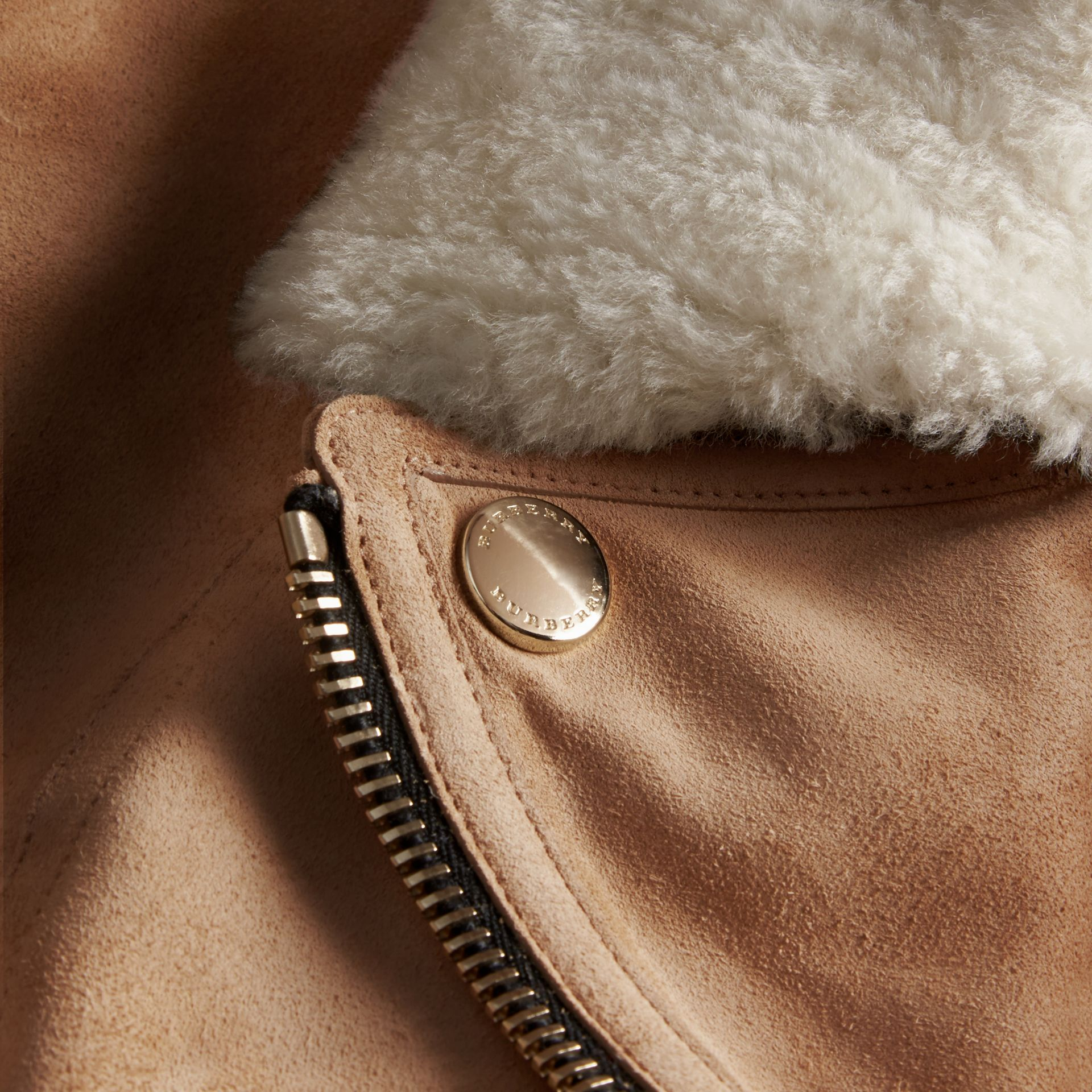 Honey Suede Biker Jacket with Shearling Collar - gallery image 2