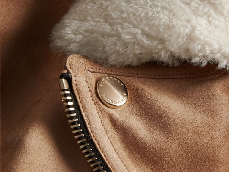 Honey Suede Biker Jacket with Shearling Collar - cell image 1