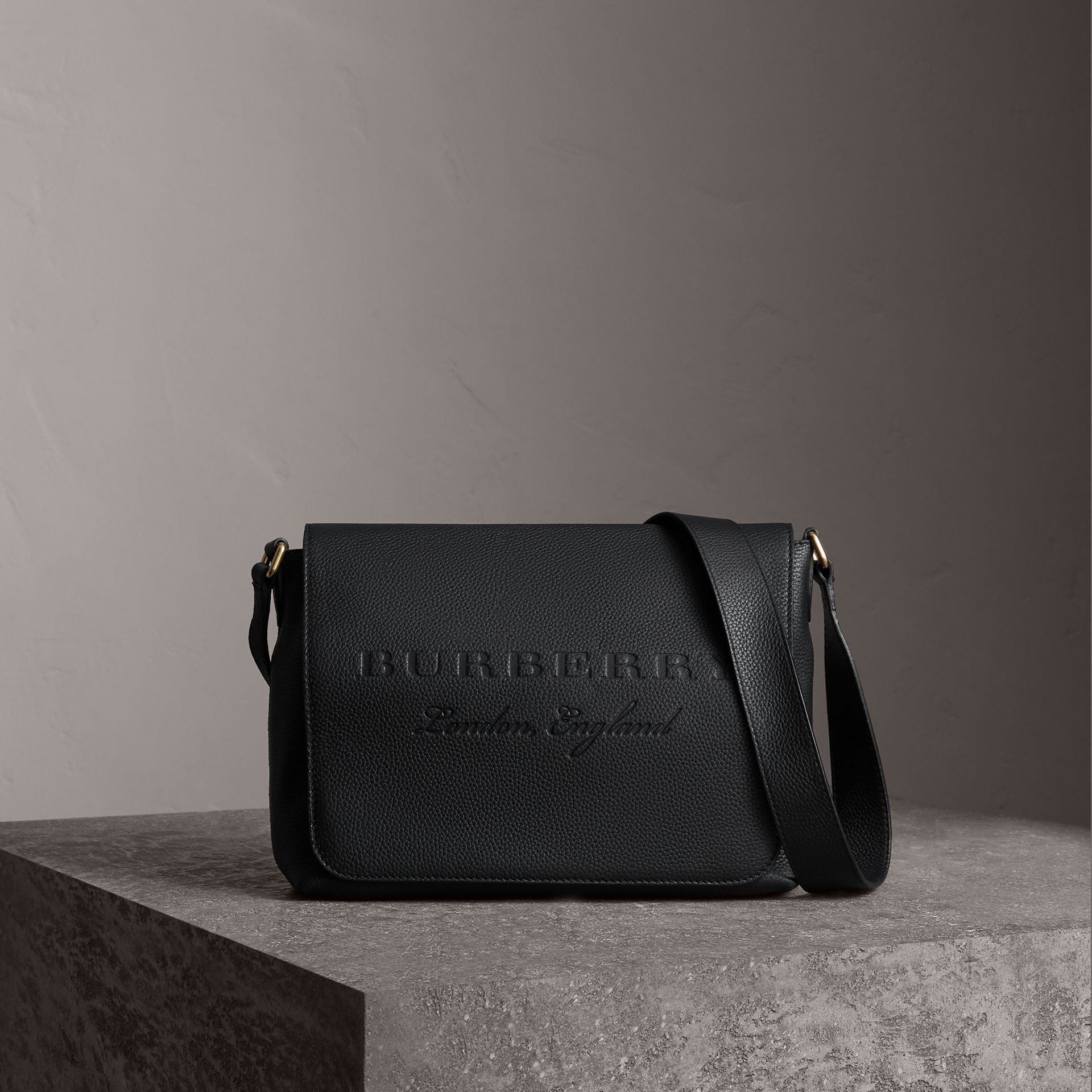 Medium Embossed Leather Messenger Bag in Black | Burberry - gallery image 0
