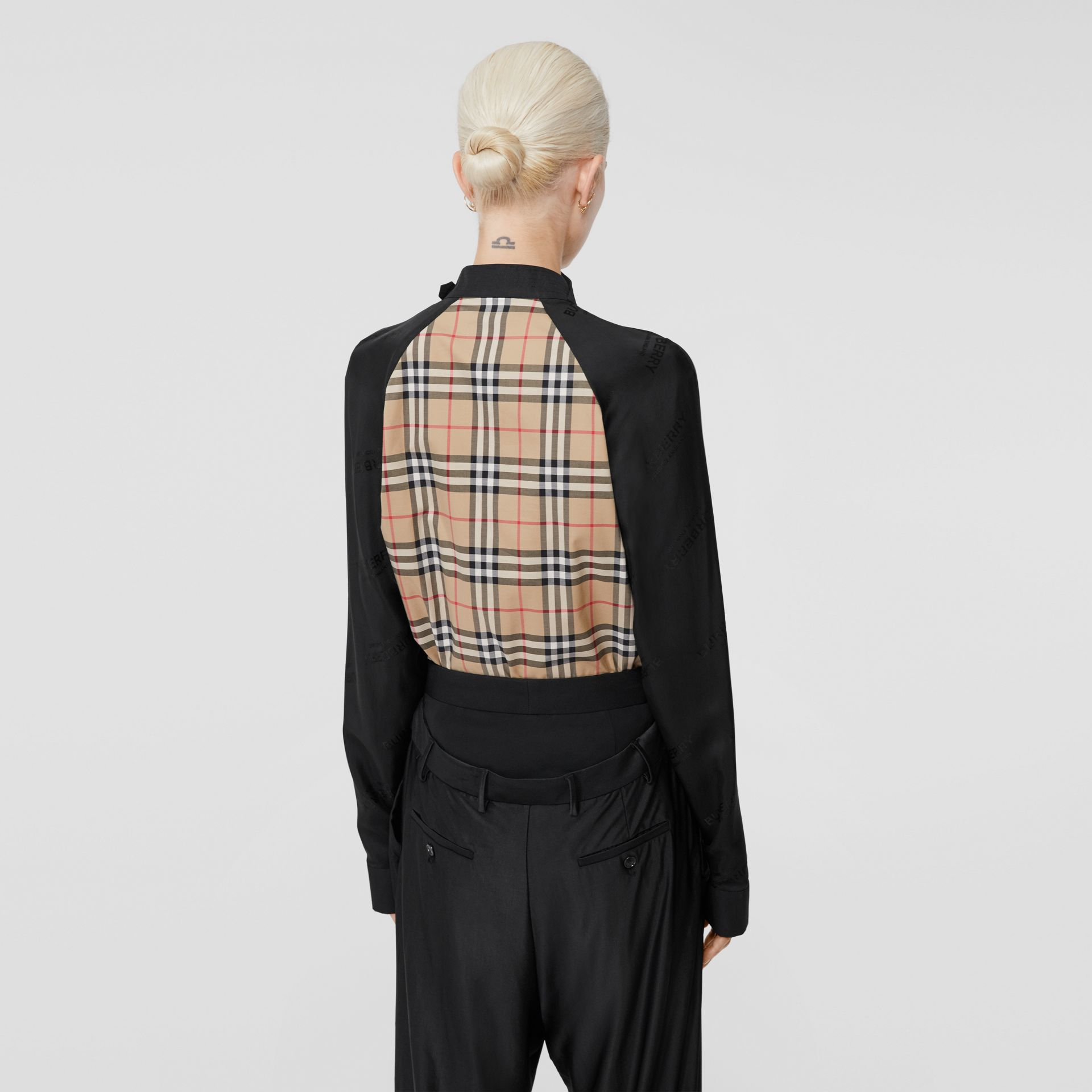 Vintage Check Stretch Cotton and Logo Jacquard Top in Archive Beige - Women | Burberry - gallery image 2