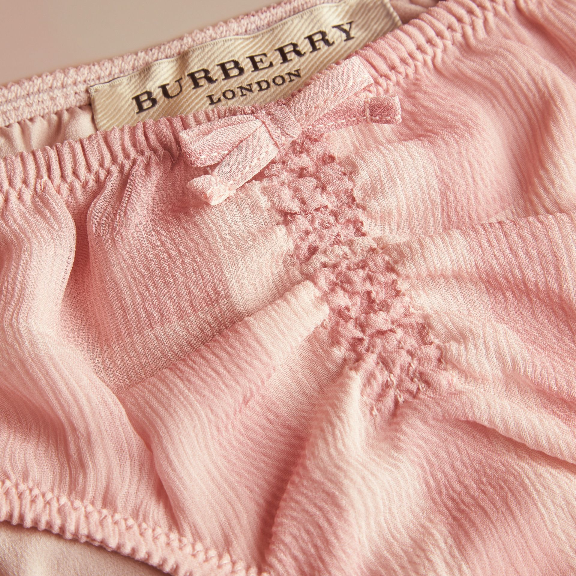 Pale pink Tonal Check Silk Crepon Briefs Pale Pink - gallery image 2