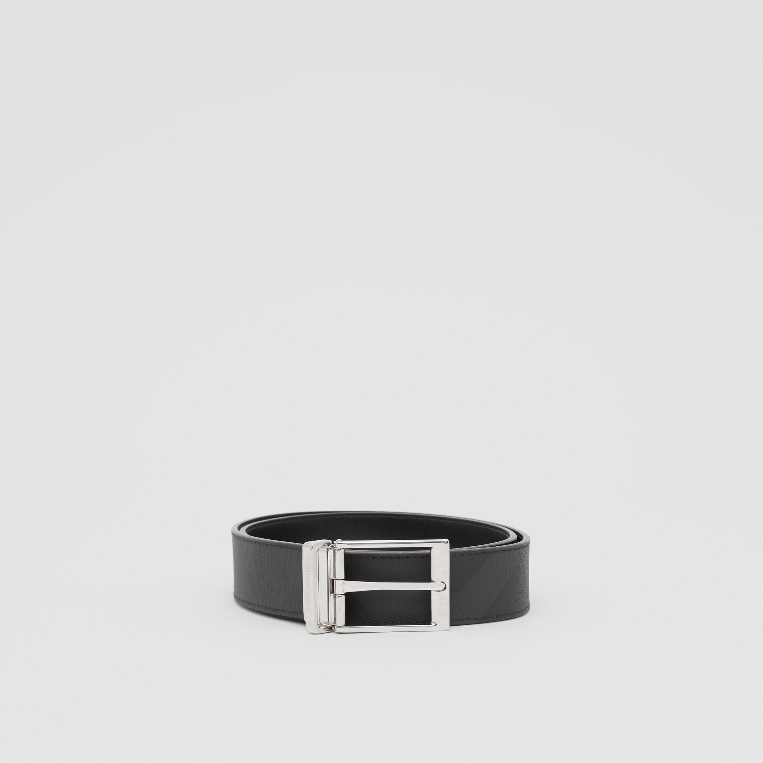 Reversible London Check and Leather Belt in Dark Charcoal/black - Men | Burberry Canada - 4