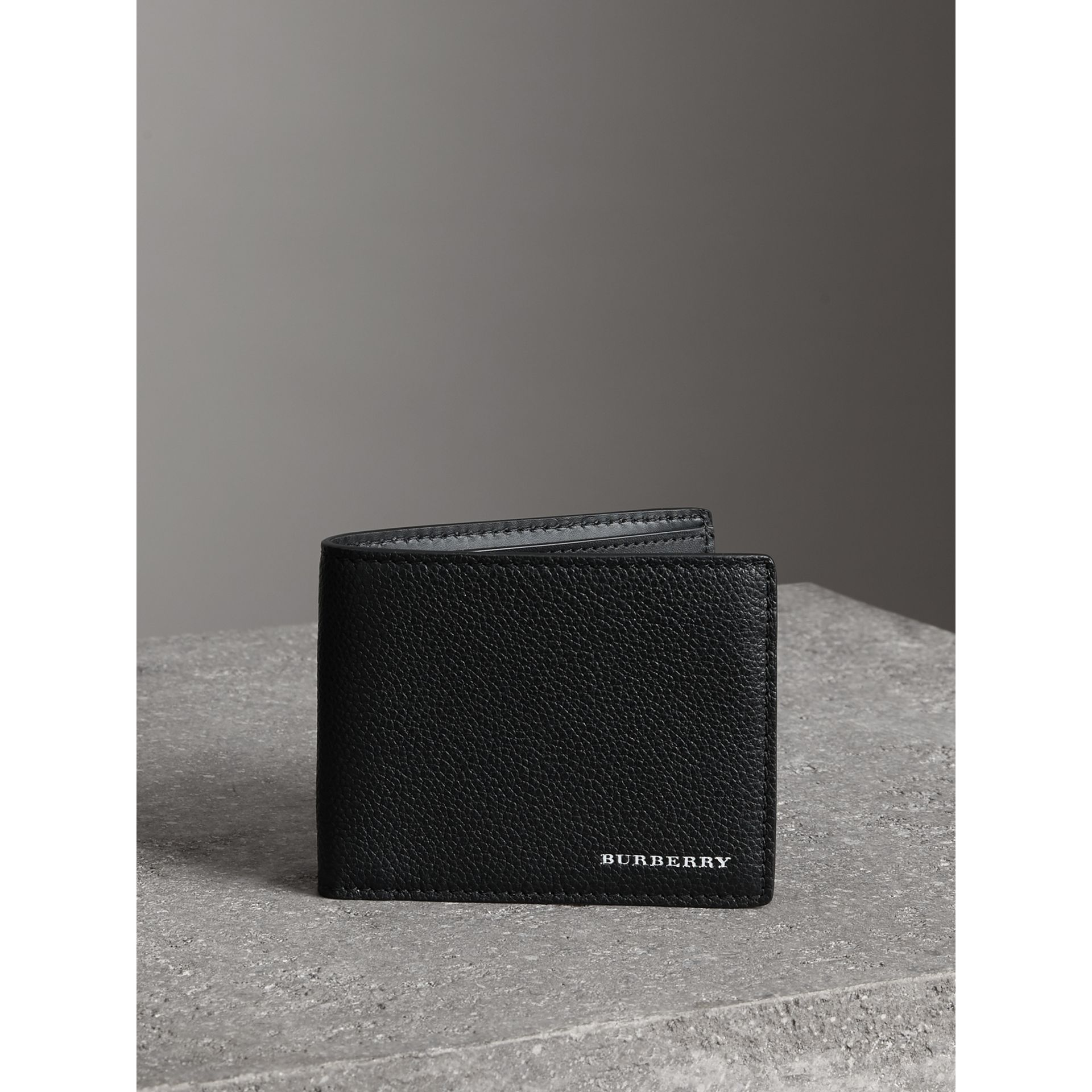 Grainy Leather Bifold Wallet in Black - Men | Burberry Canada - gallery image 4