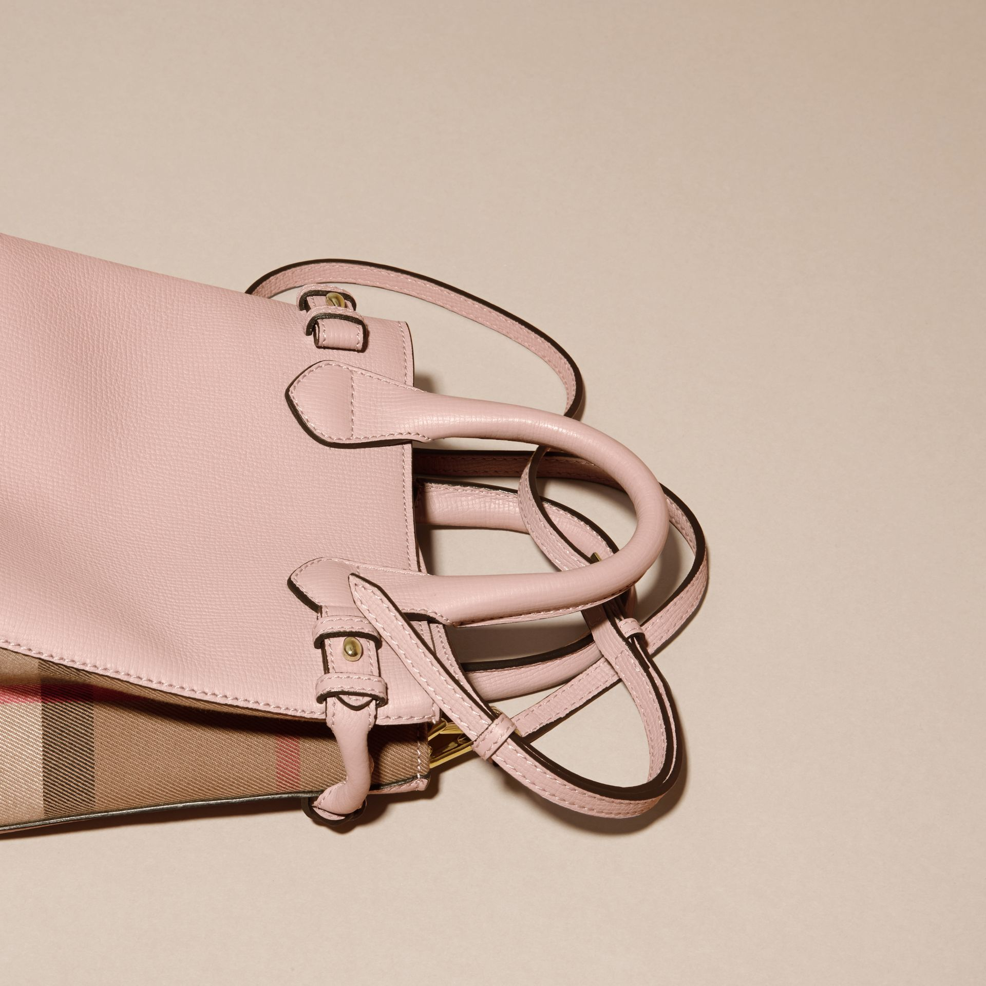 The Baby Banner in Leather and House Check in Pale Orchid - Women | Burberry - gallery image 4
