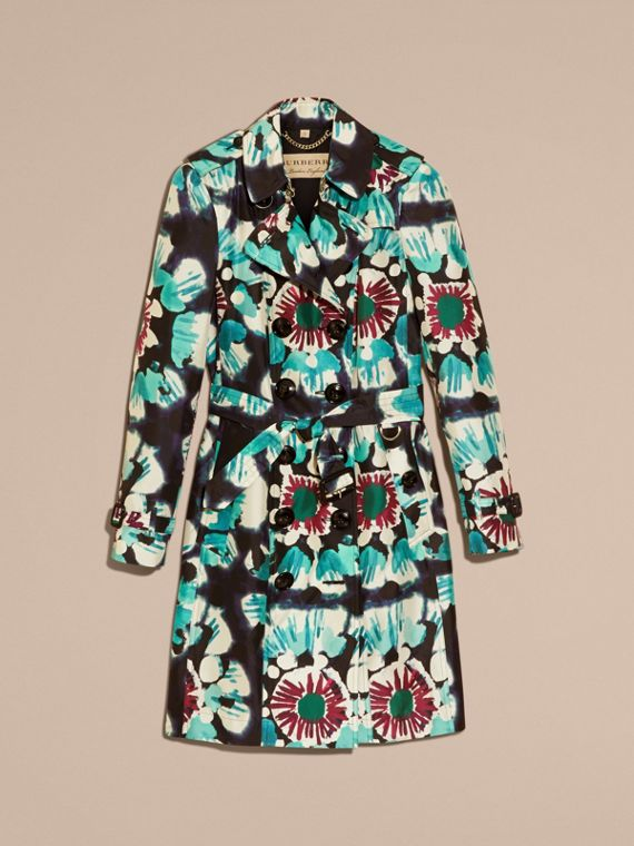 Navy Tie-dye Print Silk Trench Coat - cell image 3