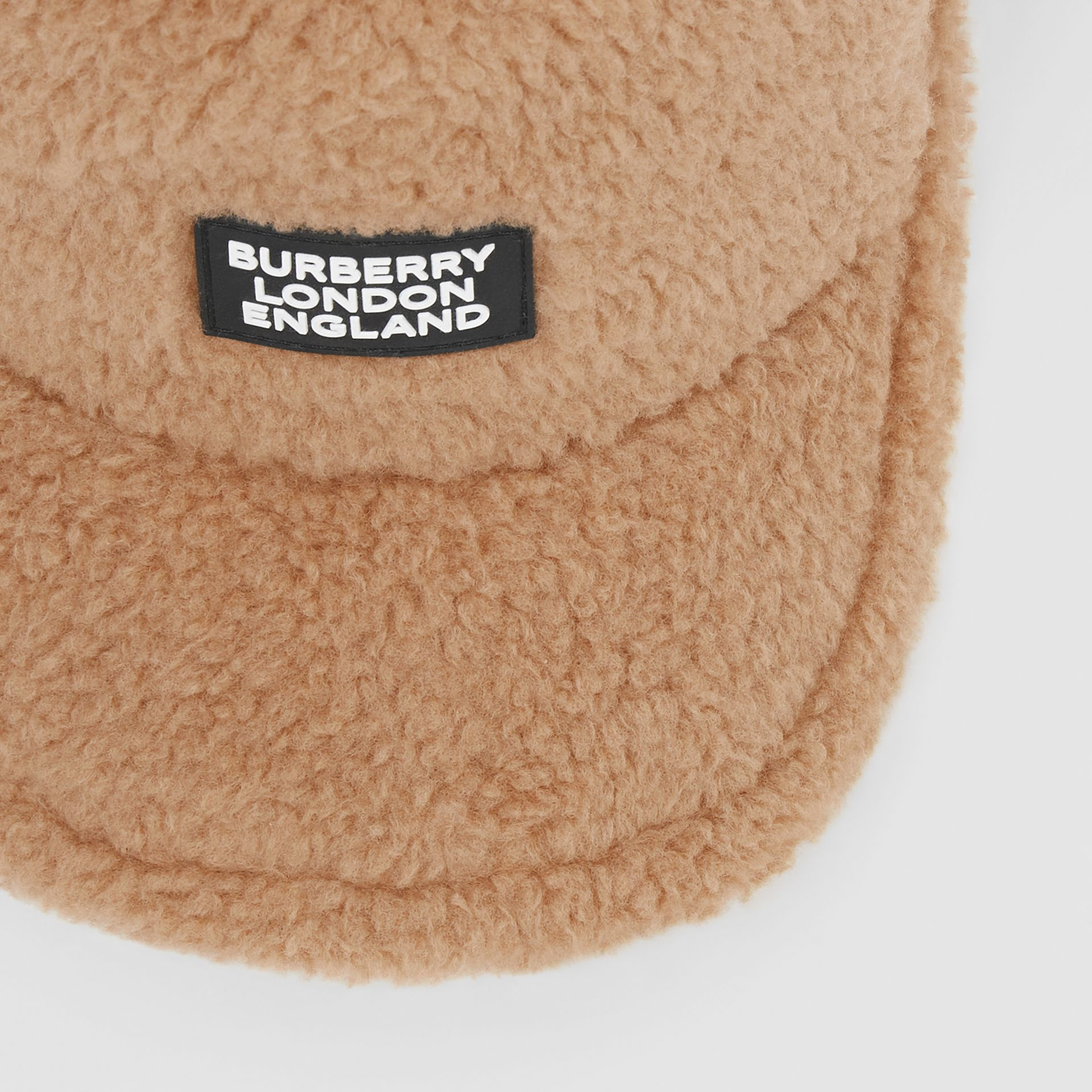 Logo Detail Faux Fur Baseball Cap in Camel | Burberry - gallery image 1