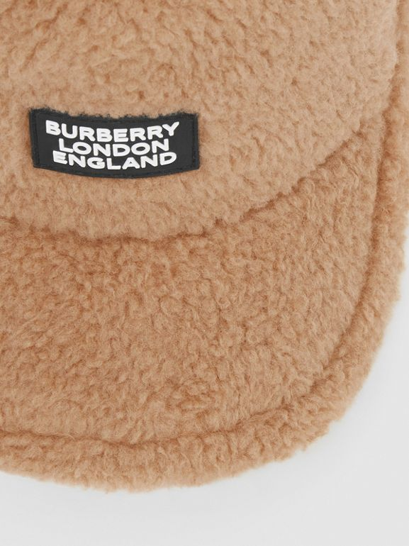 Logo Detail Faux Fur Baseball Cap in Camel | Burberry United Kingdom - cell image 1