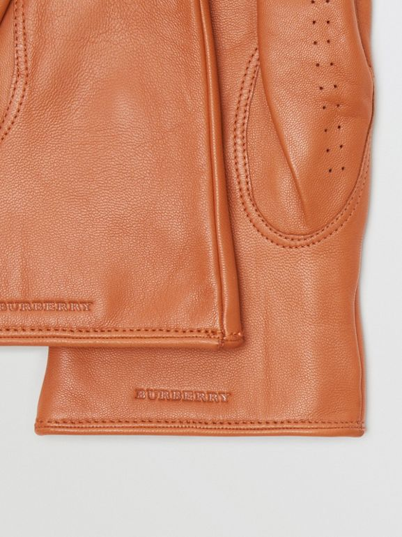 Cashmere-lined Lambskin Gloves in Tan | Burberry - cell image 1