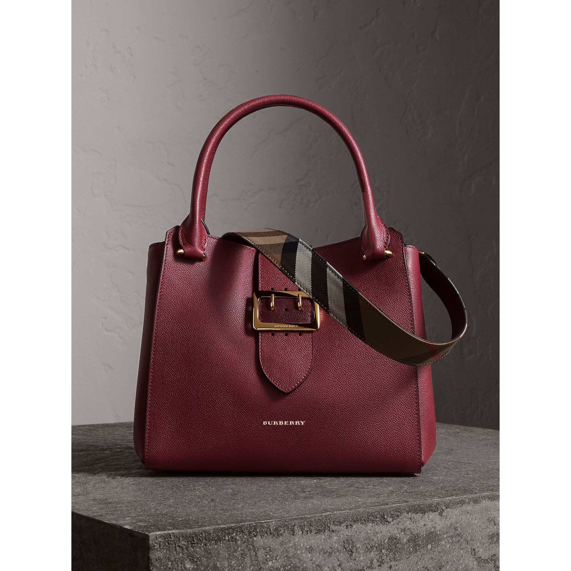 The Medium Buckle Tote in Grainy Leather in Dark Plum - Women | Burberry - gallery image 0