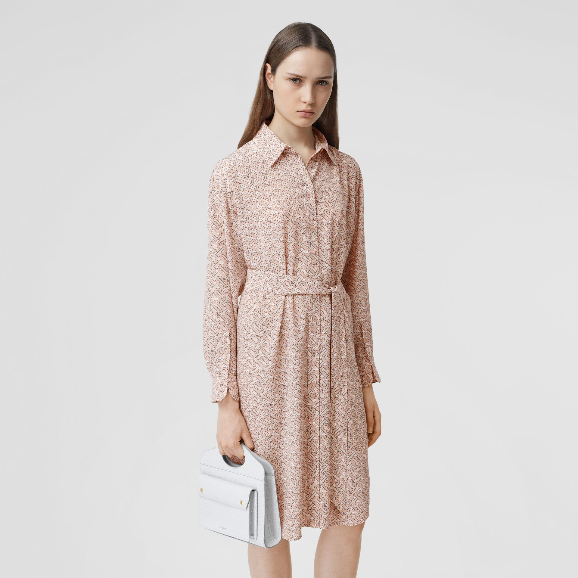Monogram Print Silk Crepe De Chine Shirt Dress in Pale Copper Pink - Women | Burberry - gallery image 5