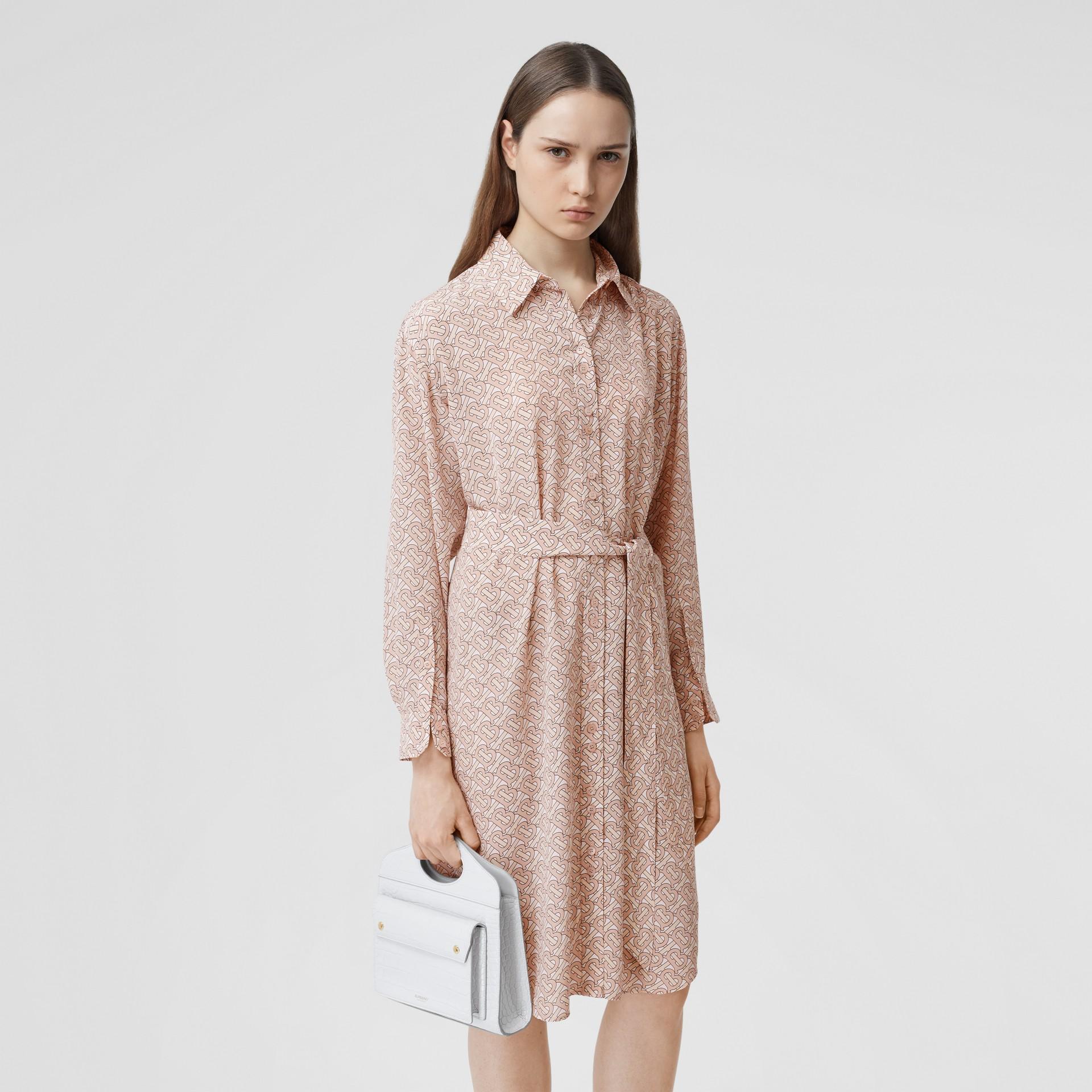 Monogram Print Silk Crepe De Chine Shirt Dress in Pale Copper Pink - Women | Burberry Hong Kong S.A.R - gallery image 5
