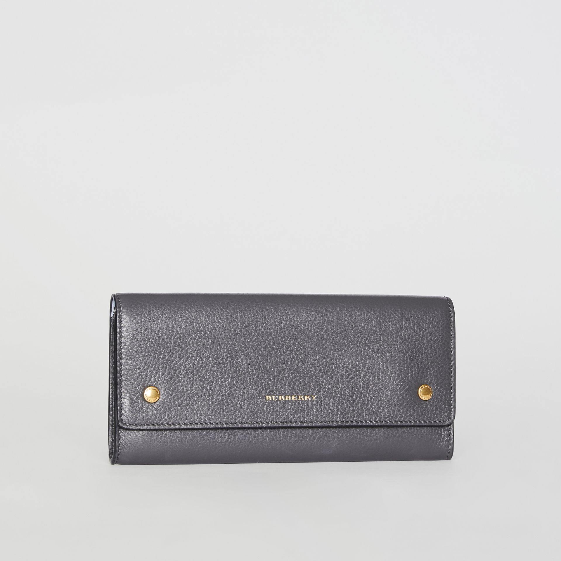 Leather Continental Wallet in Charcoal Grey - Women | Burberry - gallery image 5
