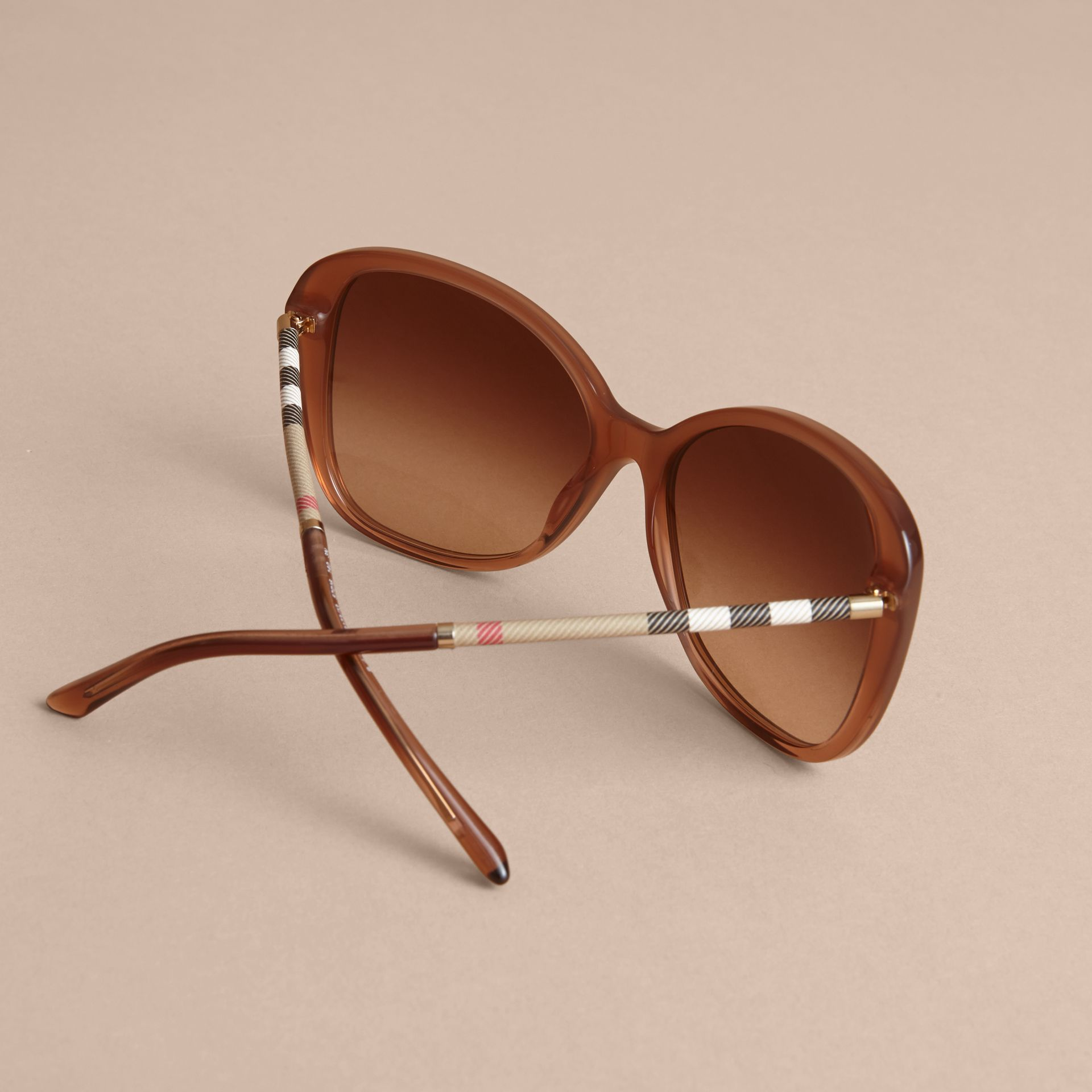 Check Detail Butterfly Frame Sunglasses Nude - gallery image 4