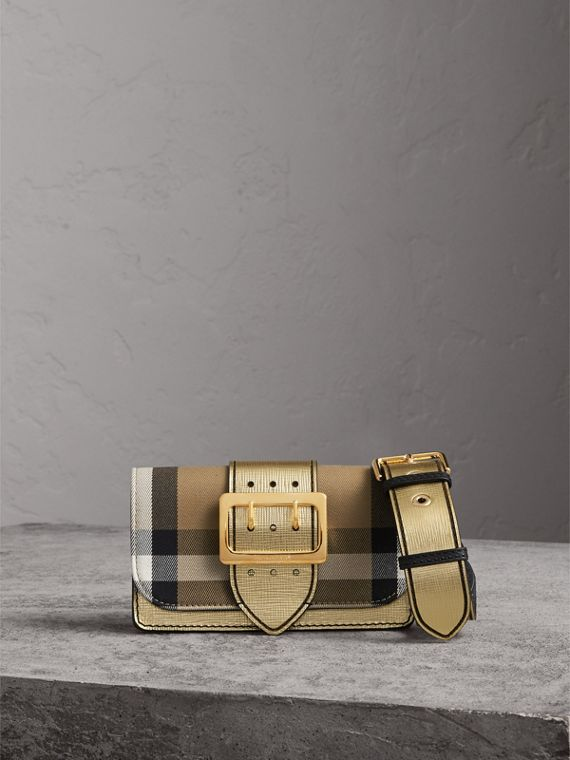 The Small Buckle Bag in House Check and Leather in Gold - Women | Burberry