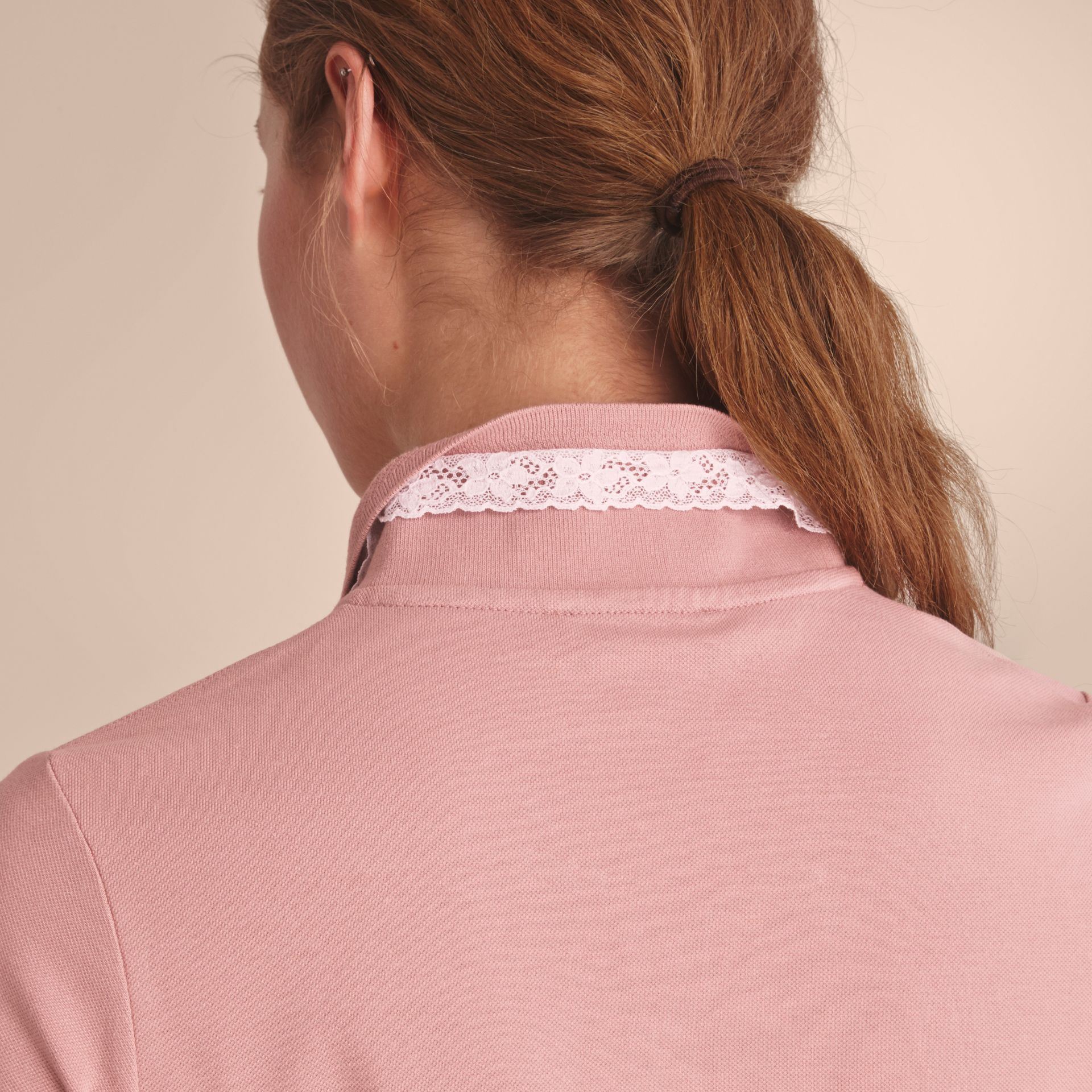 Lace Trim Cotton Blend Polo Shirt with Check Detail in Nude - Women | Burberry - gallery image 6