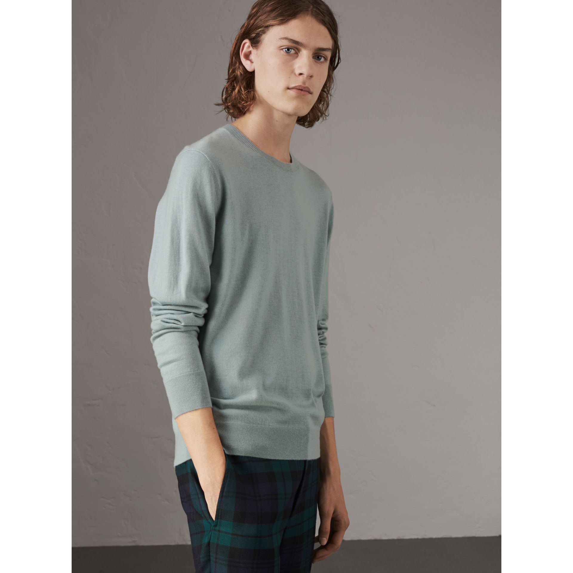 Check Jacquard Detail Cashmere Sweater in Grey Blue - Men | Burberry United Kingdom - gallery image 0
