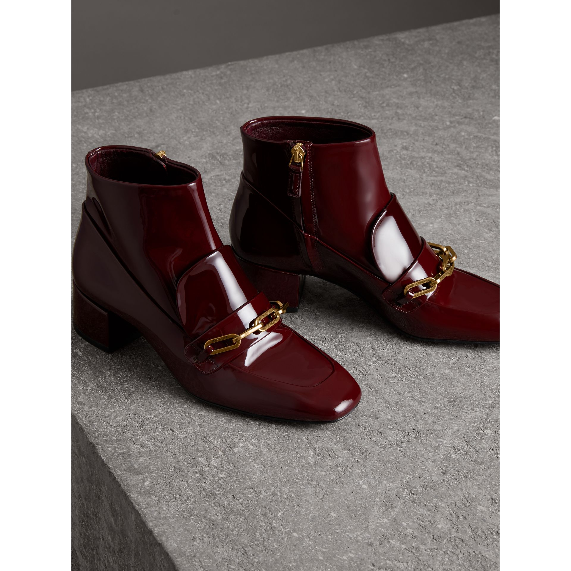Link Detail Patent Leather Ankle Boots in Burgundy Red - Women | Burberry Singapore - gallery image 4