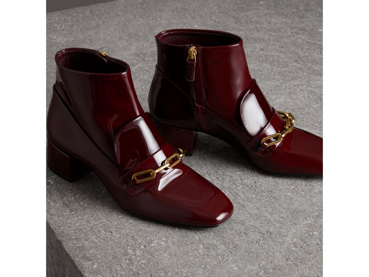 Link Detail Patent Leather Ankle Boots in Burgundy Red - Women | Burberry Australia - cell image 4