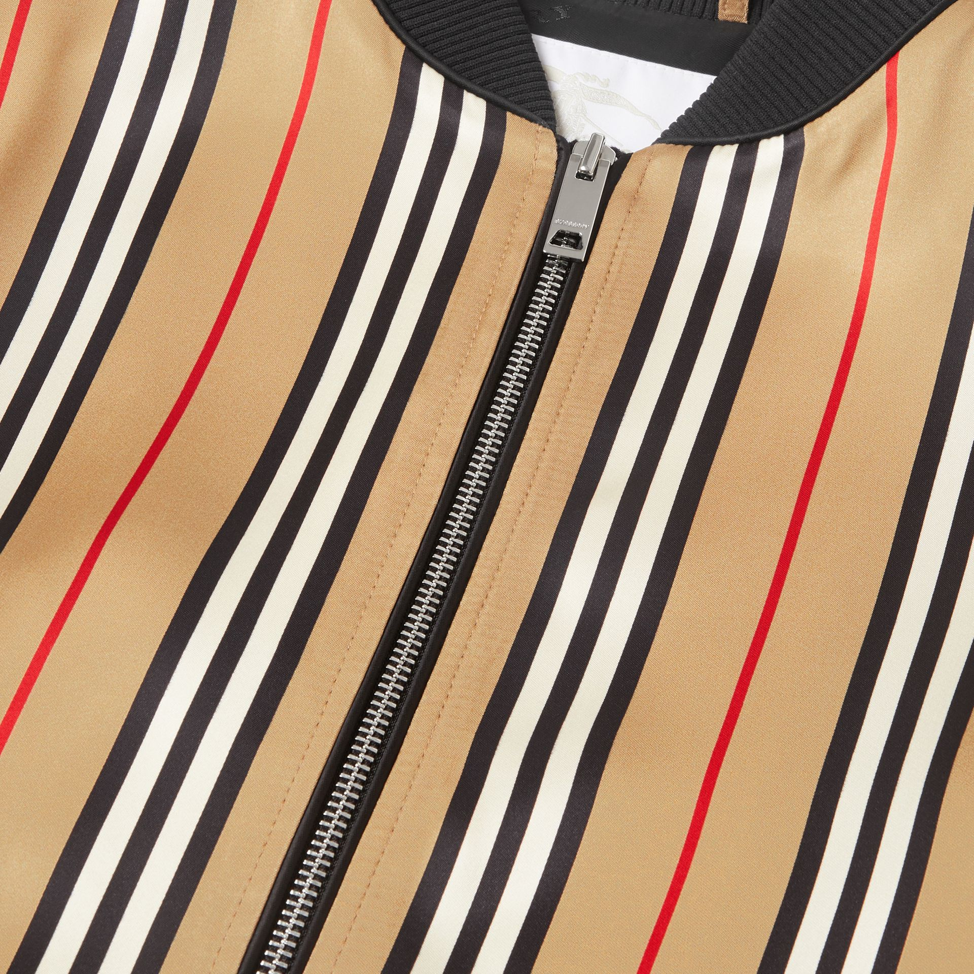 Icon Stripe Satin Bomber Jacket in Archive Beige | Burberry - gallery image 1