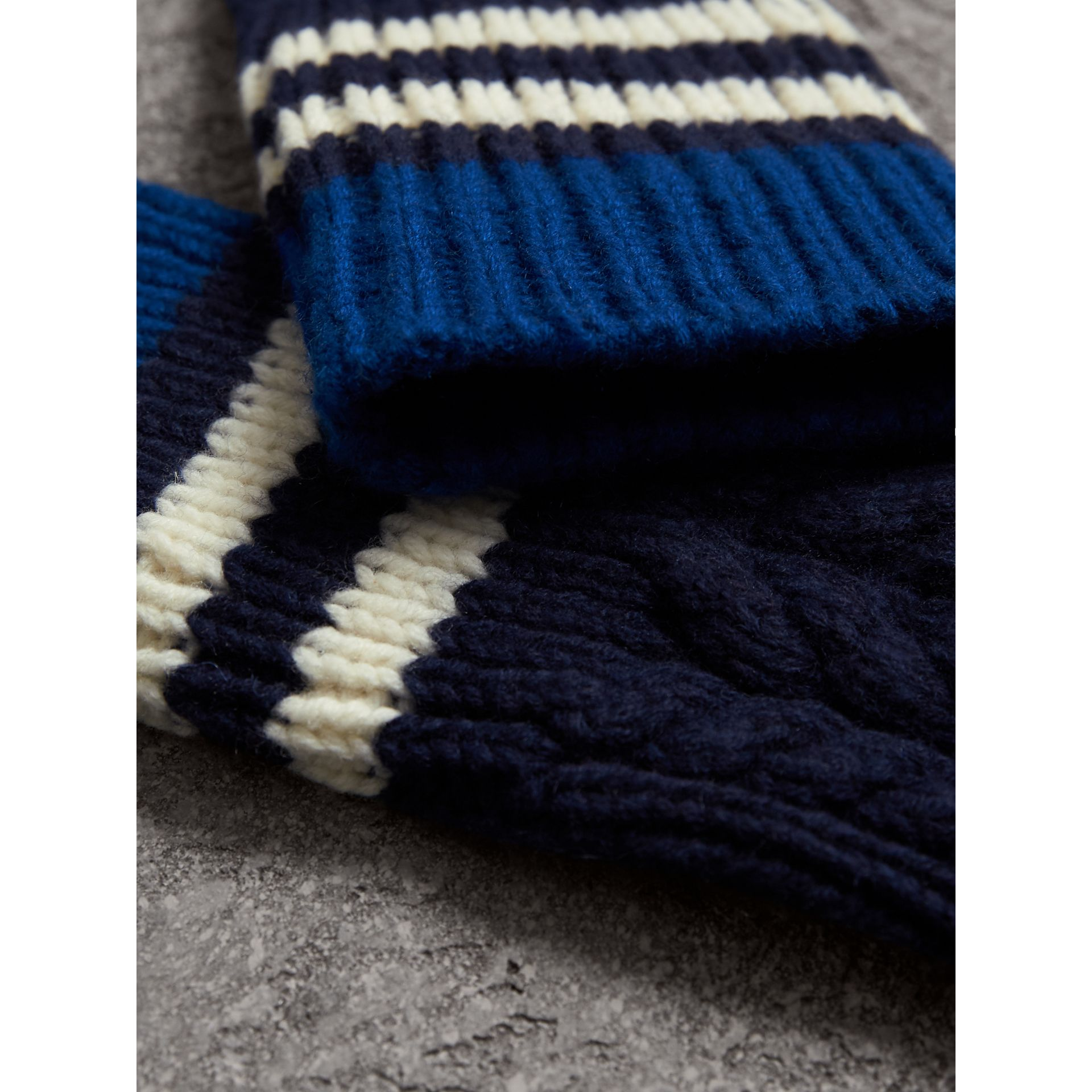 Striped Cable Knit Cashmere Fingerless Gloves in Navy | Burberry United Kingdom - gallery image 1