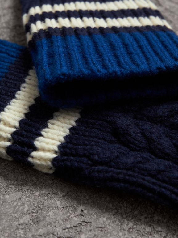 Striped Cable Knit Cashmere Fingerless Gloves in Navy | Burberry - cell image 1