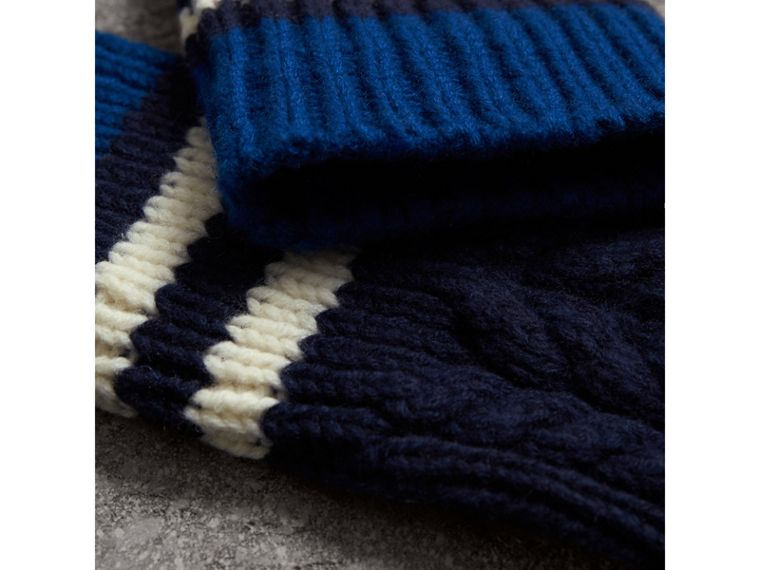 Striped Cable Knit Cashmere Fingerless Gloves in Navy | Burberry United Kingdom - cell image 1