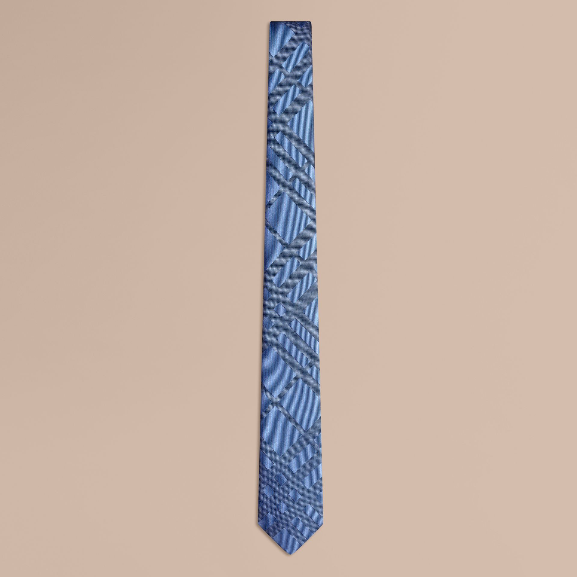 Hydrangea blue Slim Cut Check Jacquard Silk Tie - gallery image 1